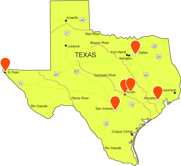Map of defensive driving classrooms in Texas
